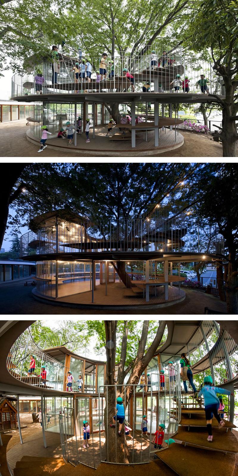 2. Детский сад вокруг дерева дерево, здание