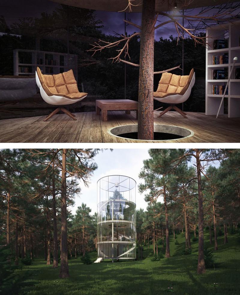 10. Цилиндрический дом вокруг дерева дерево, здание