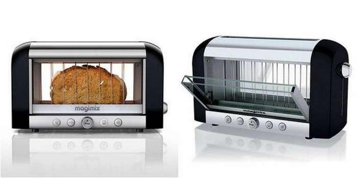 13. Тостер с прозрачными стенками, который позволяет следить за процессом приготовления хрустящего хлеба гаджет, кухня