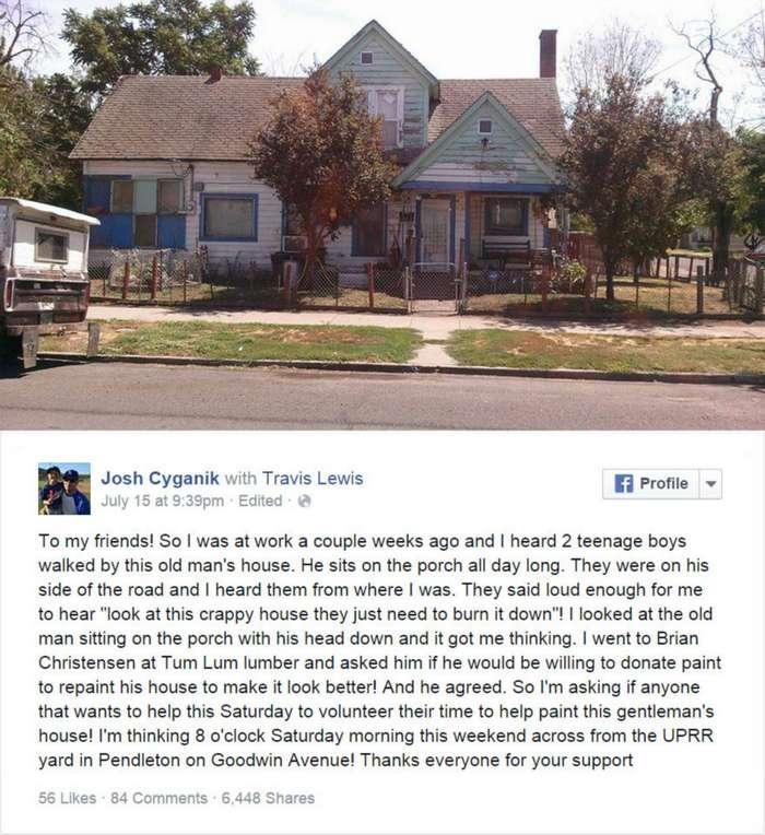 Фейсбук помог старику с обшарпанным домом