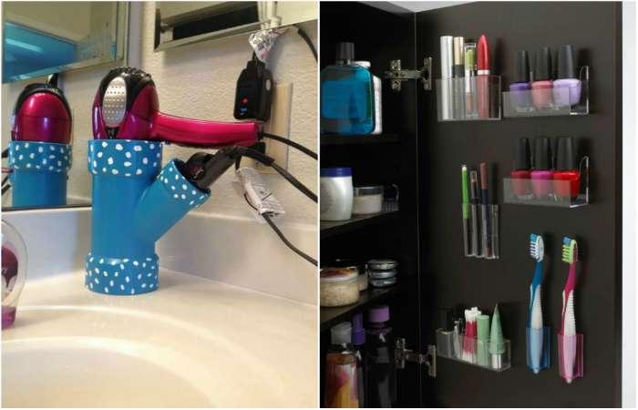 Интересные идеи хранения вещей в ванной комнате.