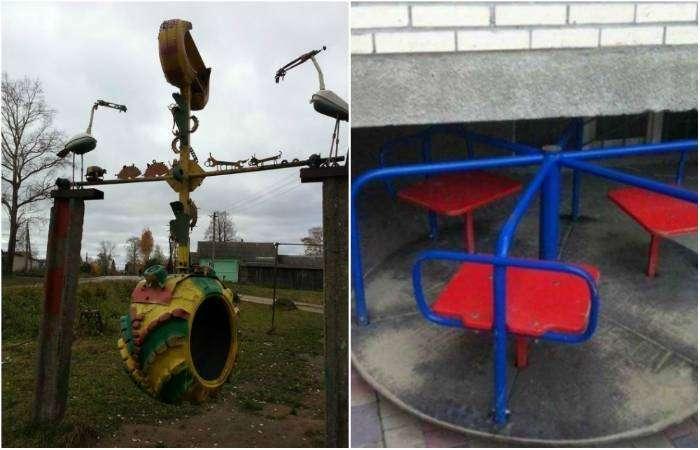 Ужасающие детские площадки России.