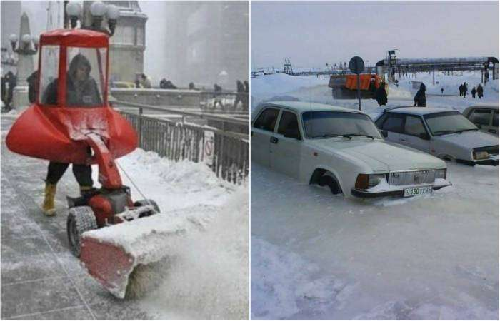Суровая русская зима и методы борьбы с непогодой.