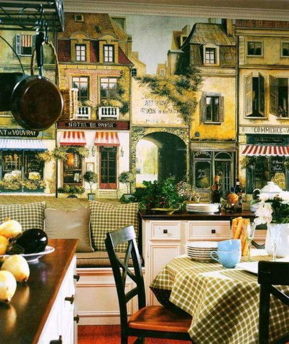 Обои с изображением уютной улицы Парижа прекрасно впишутся в интерьер столовой.