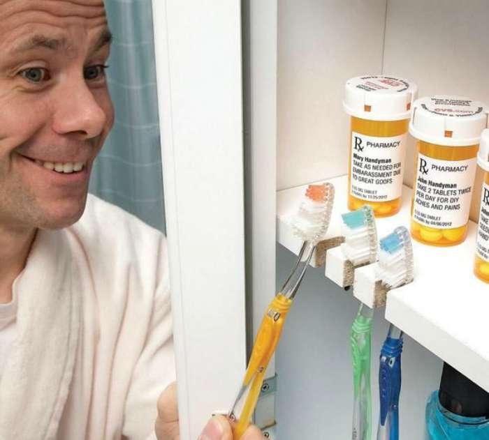 Простейший способ размещения зубных щеток.