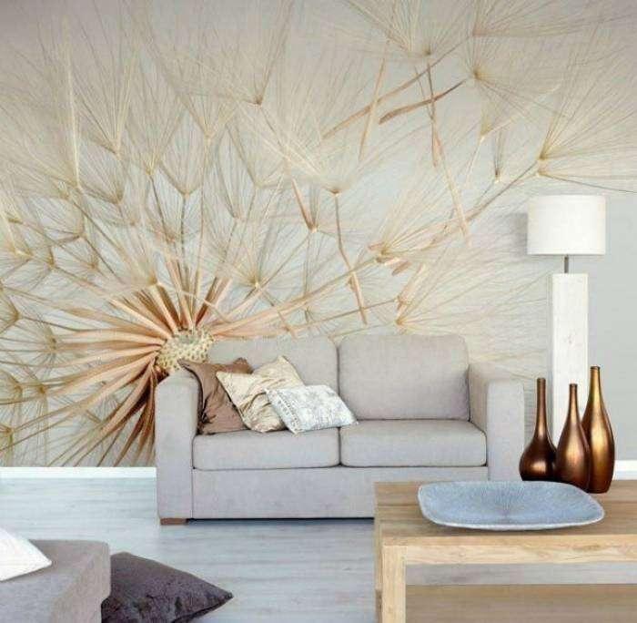 Фотообои с масштабным изображением одуванчика в интерьере гостиной.