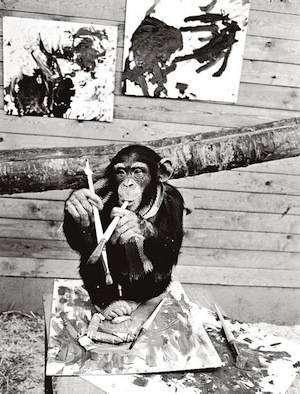 Критики не смогли отличить картину, нарисованную шимпанзе, от произведения современного искусства