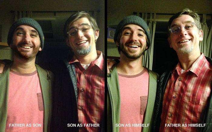 На Хэллоуин отец и сын перевоплотились друг в друга (4 фото)