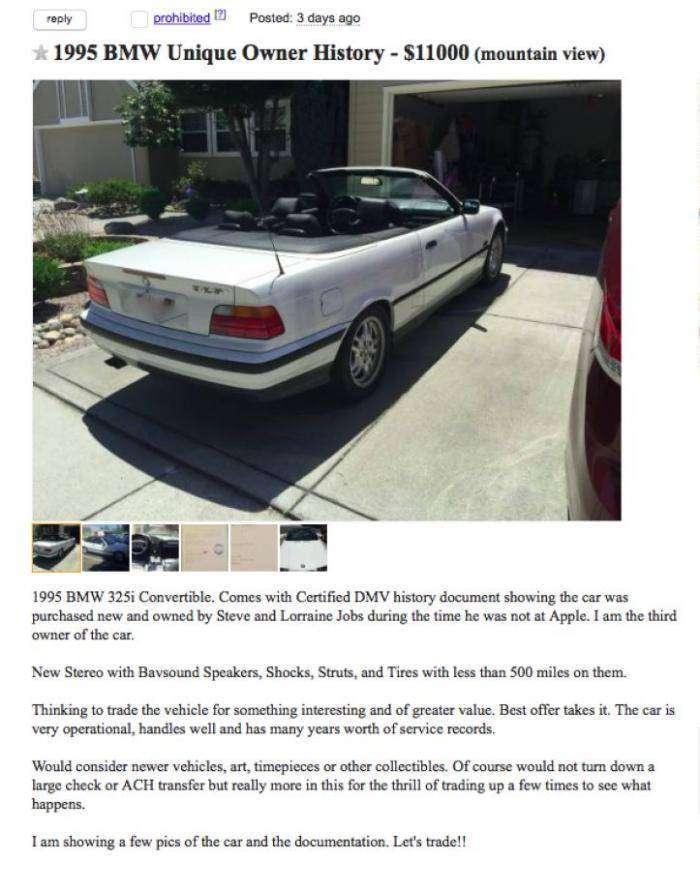 Старенький кабриолет BMW Стива Джобса выставили на продажу (13 фото)