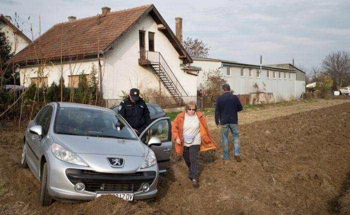 Хорватский фермер распахал землю на стоянке, заблокировав около 50 машин (11 фото)