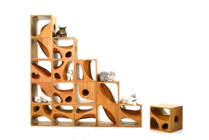 Необычная многофункциональная мебель с отверстиями для владельцев кошек.