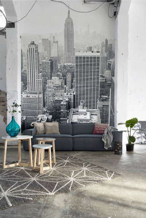 Черно-белые фотообои с изображением Нью-Йорка.