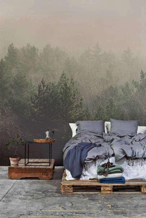 Фотообои для спальни с изображением таинственного леса.