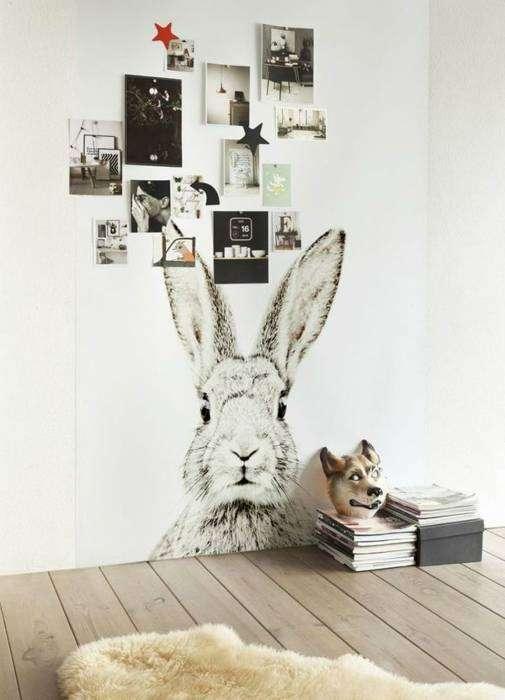 Минималистичные обои с изображением кролика.