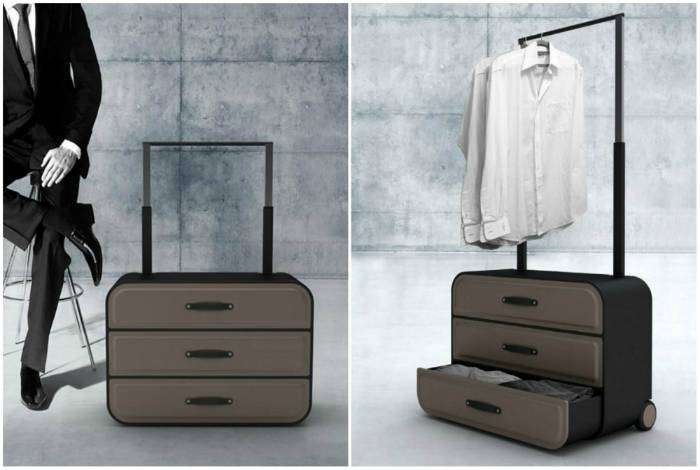 Чемодан, который легко превращается в шкаф с тремя отделениями и вешалкой.
