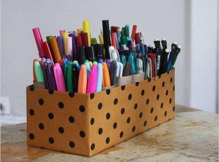 Как сделать из бумаги органайзер для ручек