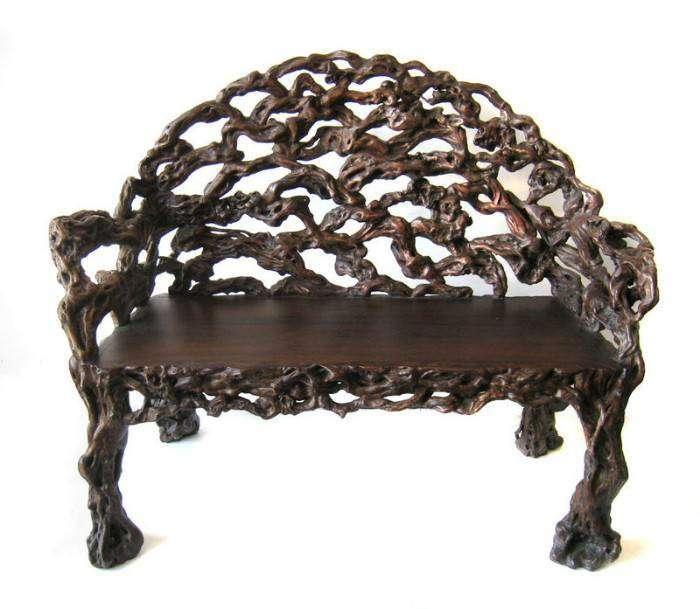 Античная скамейка из корневой древесины