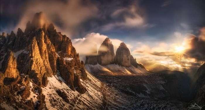 Поцелуй солнца. Скалы Тре-Чиме-ди-Лаваредо, Италия