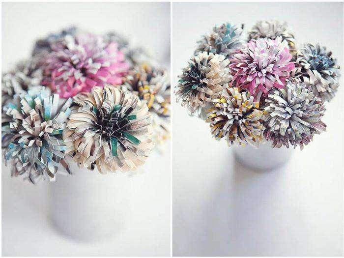 Декоративные цветы, созданные из журнала