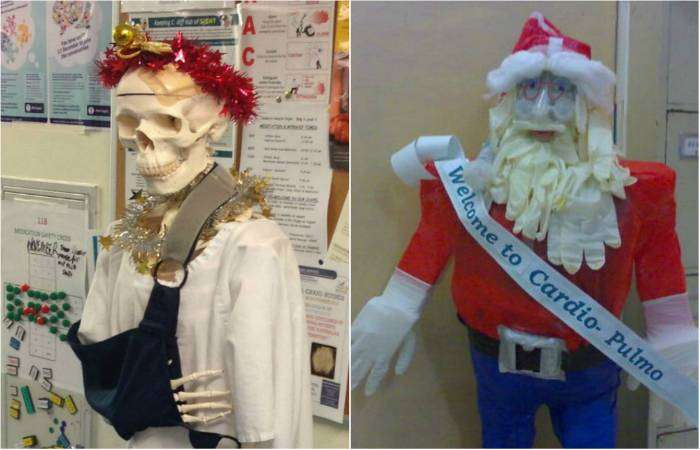 Новогодние украшения в больницах, доказывающие, что медики творческие люди.