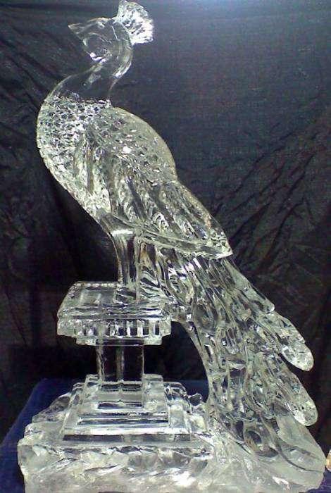 Великолепная ледяная скульптура в виде павлина.