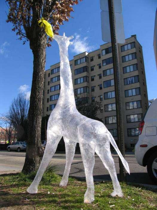 Огромный ледяной жираф.