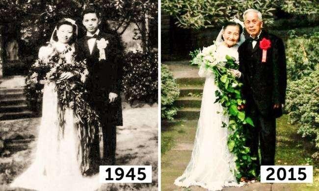 98-летние супруги воссоздали день своей свадьбы через 70 лет (8 фото)