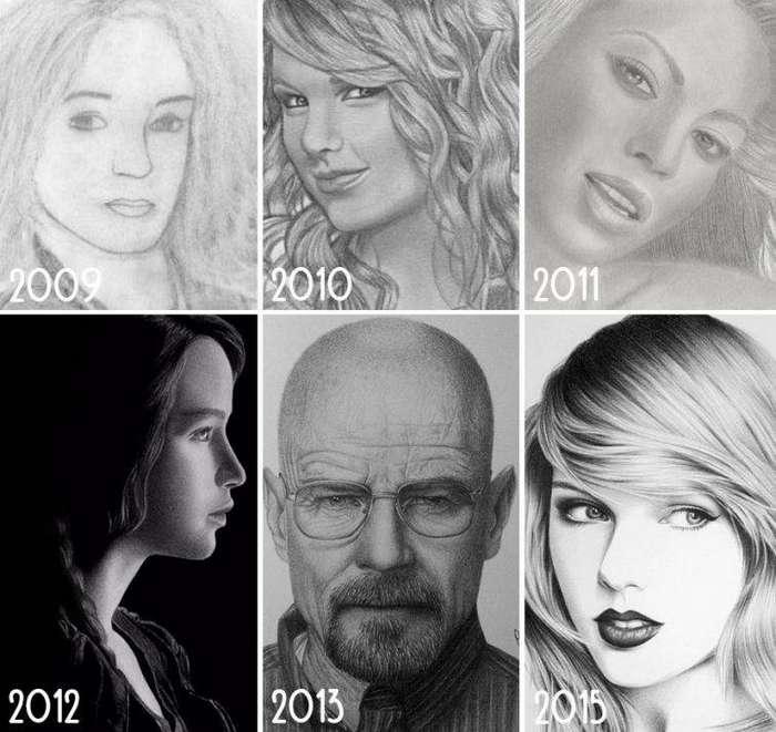 7 лет прогресса до и после, рисунок