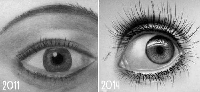 Прогресс в рисовании глаз до и после, рисунок