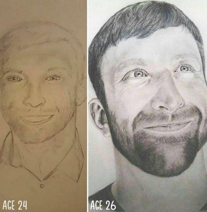 Разница всего в двух годах практики до и после, рисунок