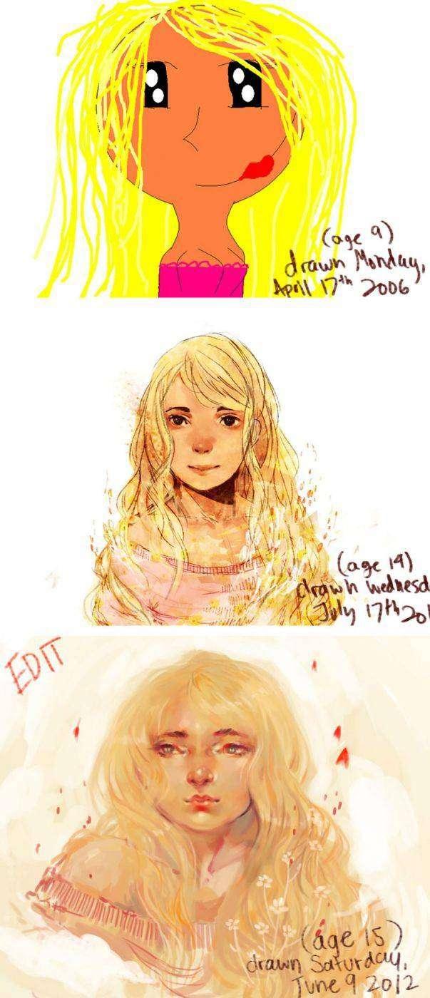 Кажется, её стиль немного изменился до и после, рисунок