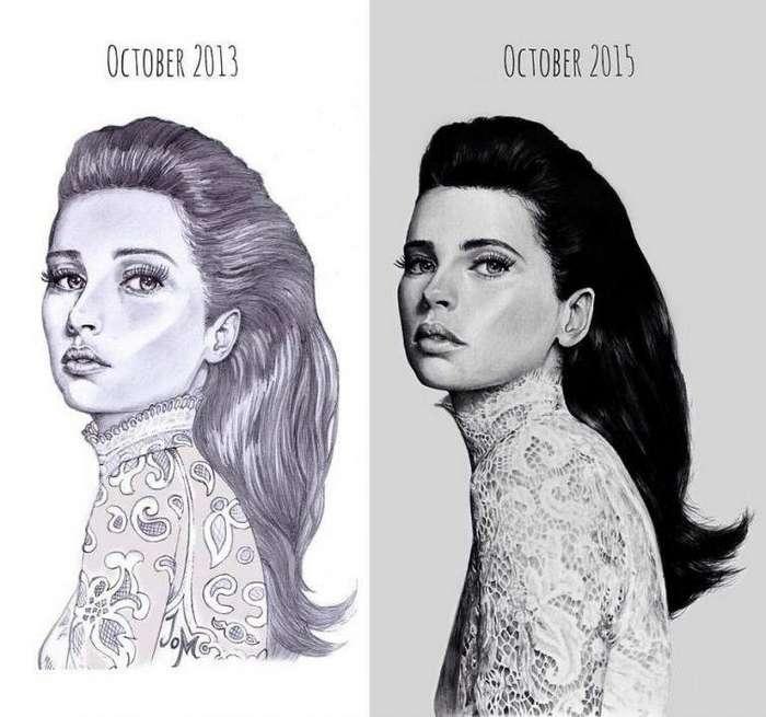 Рисунок одной и той же женщины в 2013 и в 2015 году до и после, рисунок