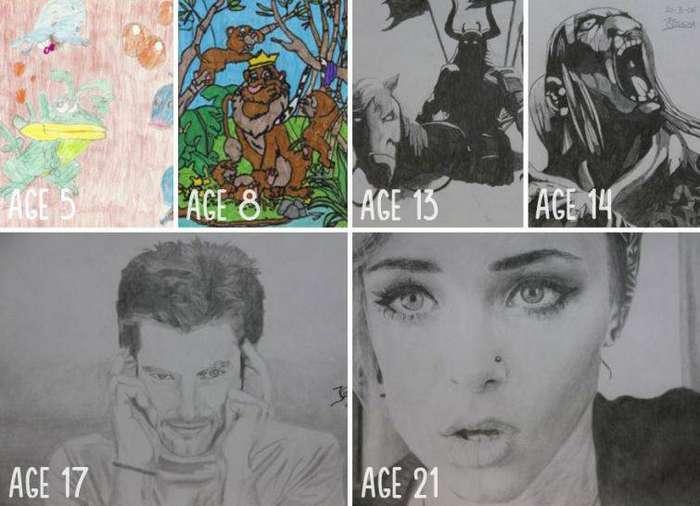 Последний рисунок просто вау! до и после, рисунок