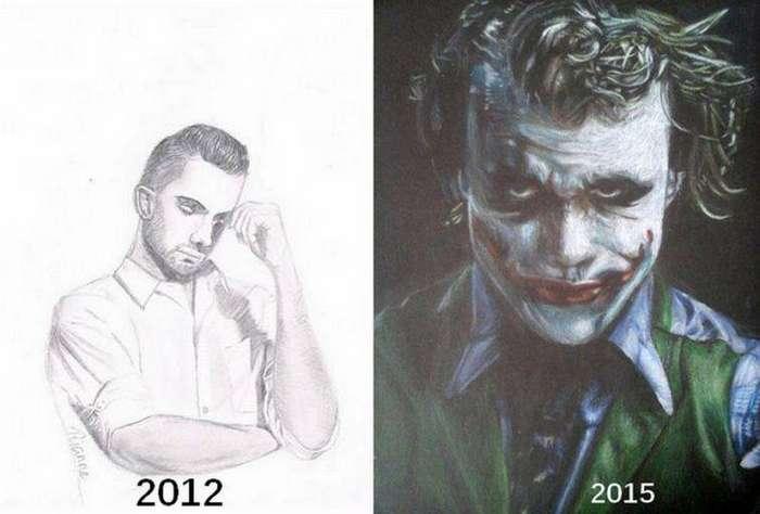 Удивительный прогресс до и после, рисунок