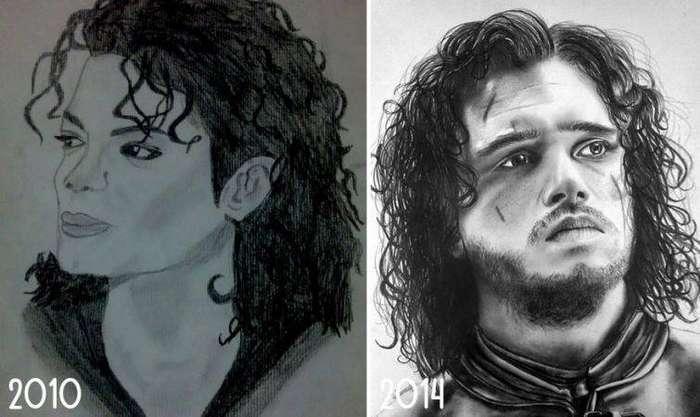 Майкл Джексон превращается... превращается.. до и после, рисунок