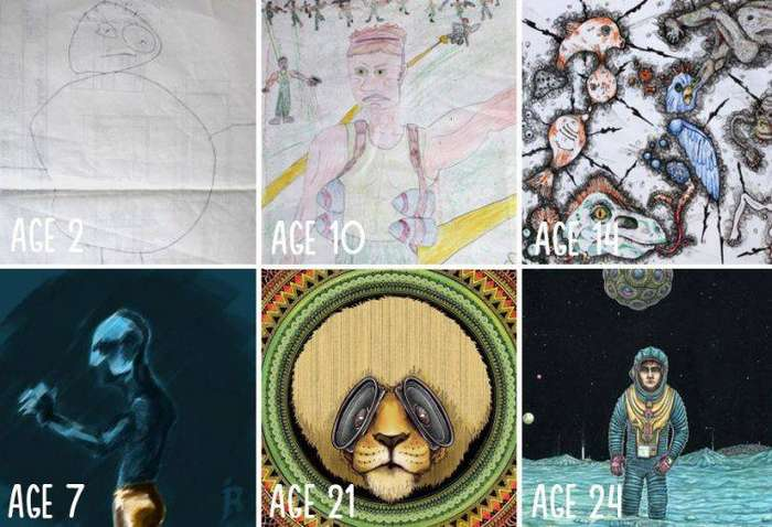 Прогресс от 2-х до 24-х лет до и после, рисунок