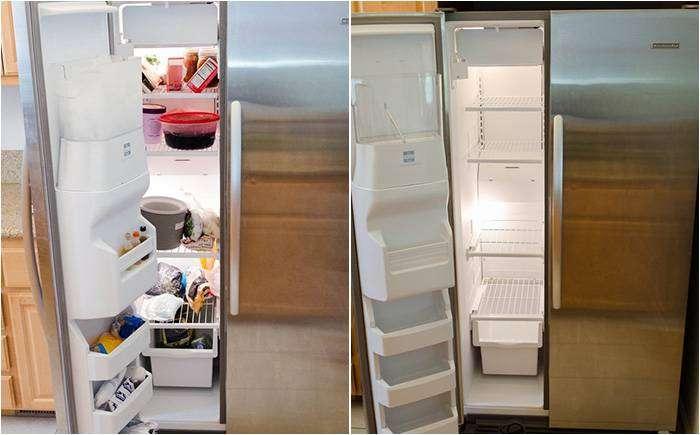 Даём холодильнику просохнуть и складываем продукты