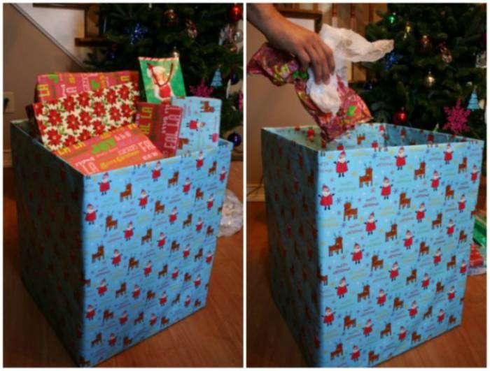 Чтобы не портить атмосферу праздника невзрачным мусорным ведром, сделайте праздничный контейнер из большой картонной коробки и оберточной бумаги.