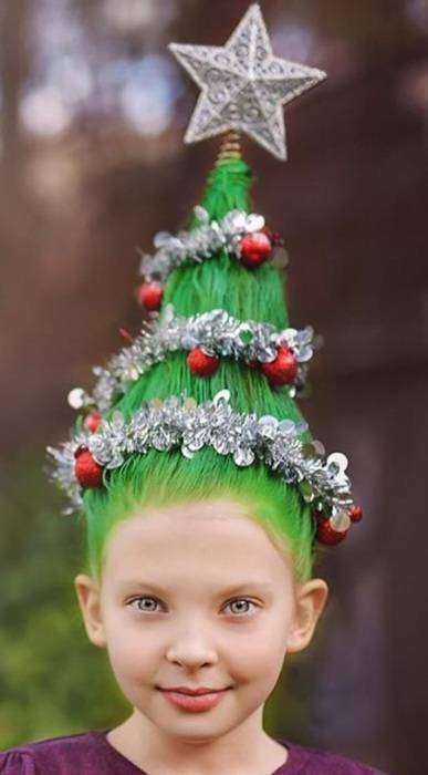 Новогодняя ёлка на голове