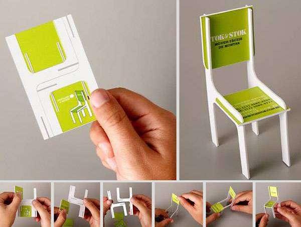 Визитная карточка в виде складного игрушечного стула.