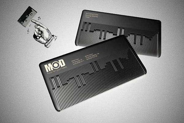Музыкальная визитка-расческа для салона по уходу за волосами.