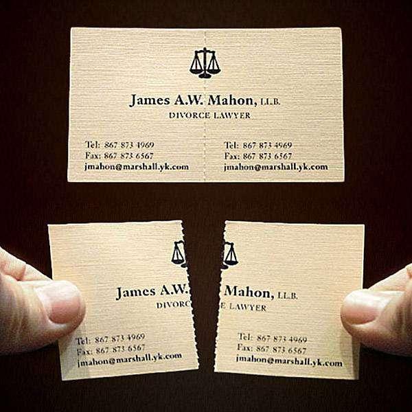 Визитная карточка адвоката, специализирующегося на бракоразводных процессах.