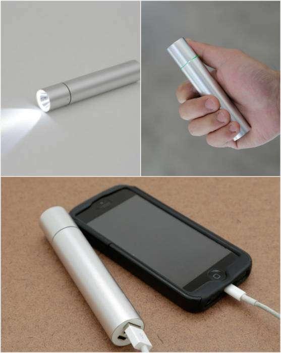 Компактный фонарик, который можно использовать, как грелку для рук и как зарядку для телефона.
