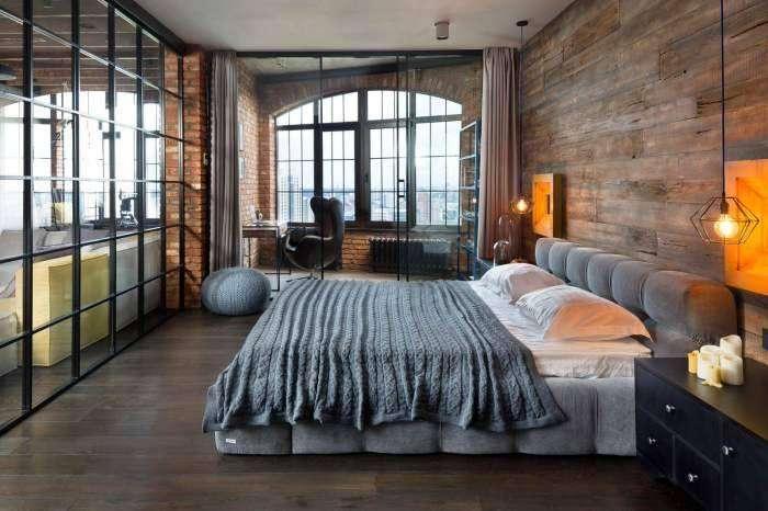 Индустриальный дизайн спальни в темных тонах преобразит любое помещение и вдохнет в него новую жизнь.