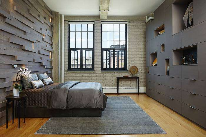 Спальня в темно-серых тонах, открывает все тайны и специфику промышленного стиля в интерьере.
