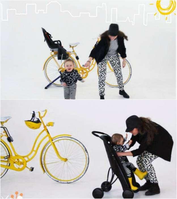 Детское велосипедное кресло, которое трансформируется в небольшую прогулочную коляску.