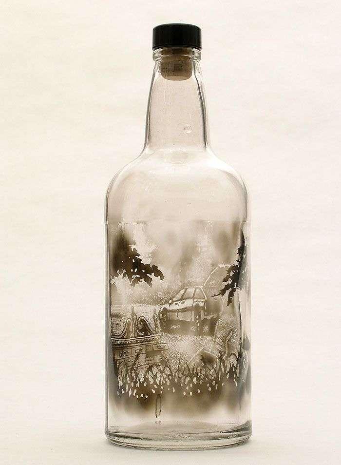 Рисунки дымом внутри бутылок (11 фото)