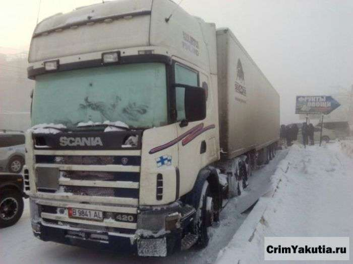 Жители Якутска помогли дальнобойщику, заморозившему груз хурмы (7 фото)