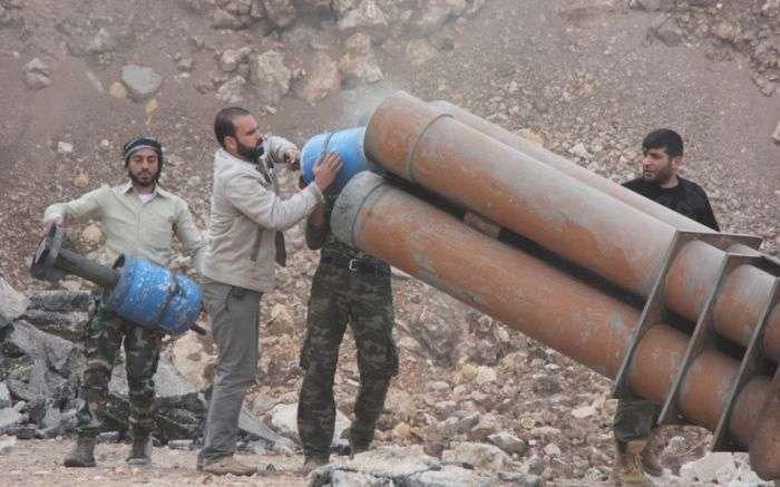 Самодельный реактивный миномет сирийских боевиков (3 фото)