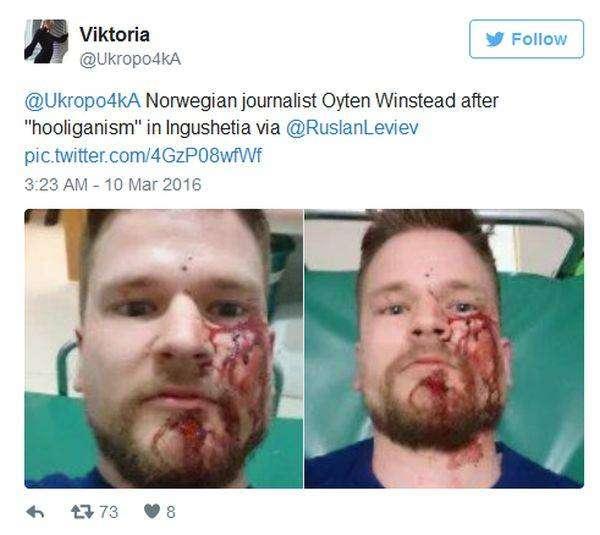В Ингушетии неизвестные напали на журналистов и правозащитников (2 фото)